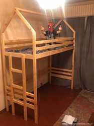 двохповерхова кровать з натурального дерева  1