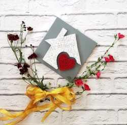 Стринг арт дом, Картина дом милый дом, декор красное сердце, Подарок