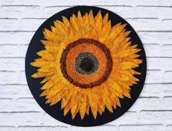 Стринг арт подсолнух, картина цветок, соняшник декор, картина подсолну