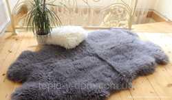Коврик из четырех овечьих шкур, серый