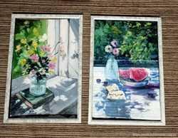Картины пара миниатюр маслом импрессионизм живопись лето солнце цветы