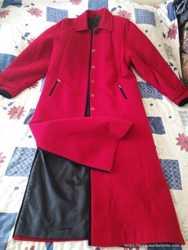 Пальто,женское , кашемир , цвет красный и подарю платье 2